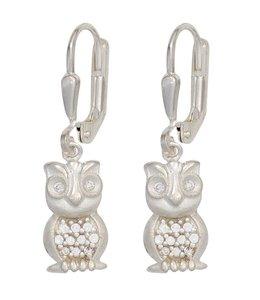 JOBO Kids Earrings Owl Silver Zirconia