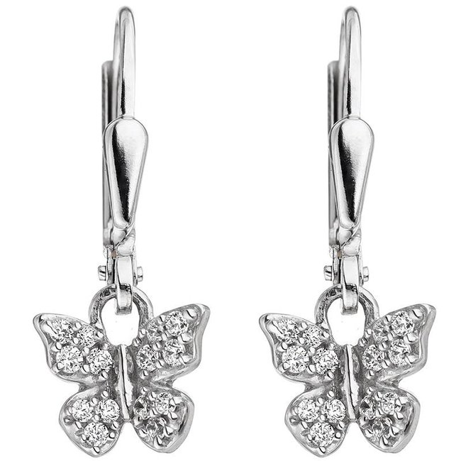 Aurora Patina Zilveren kinder oorbellen vlinder zirkonia