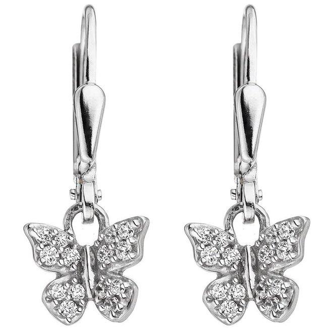 Kinder oorbellen vlinder 925 Zilver met zirkonia