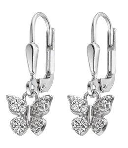 JOBO Zilveren kinder oorbellen vlinder zirkonia