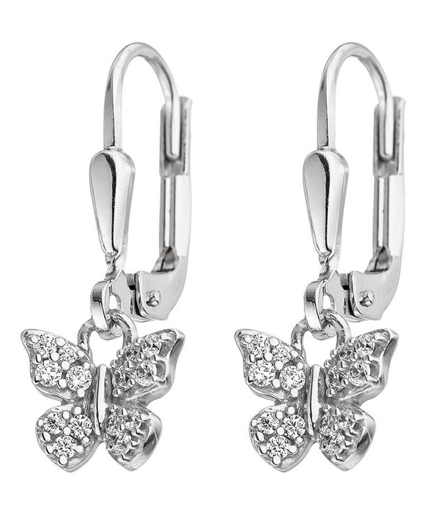Aurora Patina Kids Earrings Butterfly 925 Silver with Zirconia