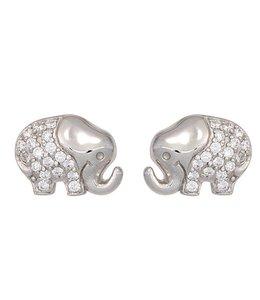 JOBO Kinder Ohrstecker Elefant Silber Zirkonia