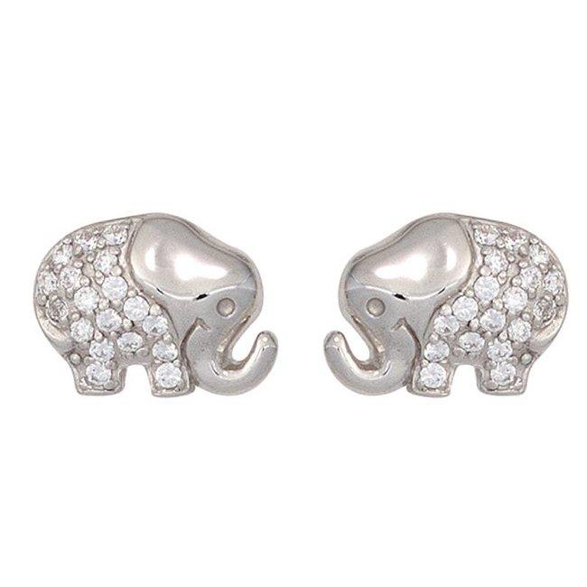 Kids earstuds Elephant 925 silver with Zirconia
