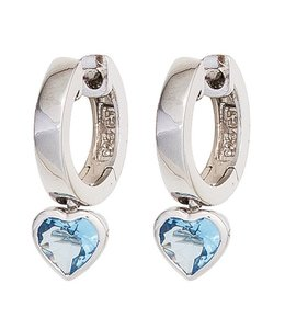 JOBO Kids creole earrings silver blue zirconia
