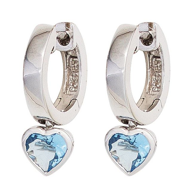 Aurora Patina Kids creole earrings silver blue zirconia
