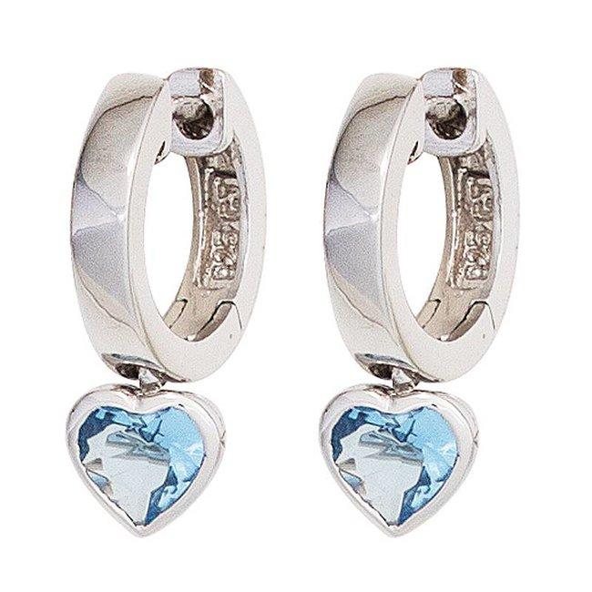 Aurora Patina Kids creole earrings silver blue zirconia