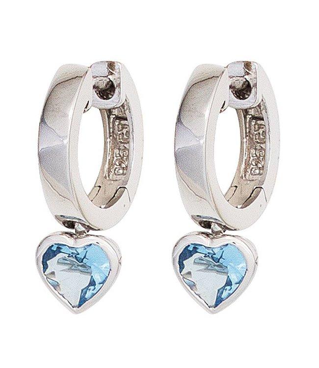 JOBO Kinder Creolen Ohrringe aus Sterlingsilber mit 2 blauen Zirkonia Herzen