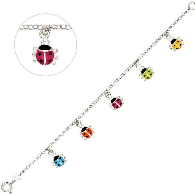 Kids bracelet with colorful ladybug pendants 925 silver 16 cm