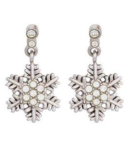 Aurora Patina Kinder Ohrhänger Schneeflocke Silber mit Zirkonia