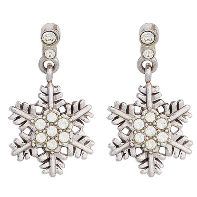 Kids Earring Snowflake 925 Silver with Zirconia