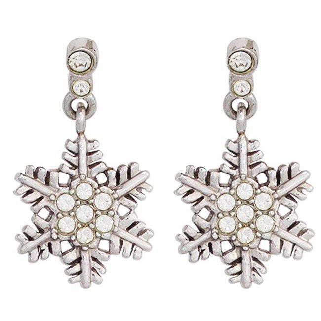 Kinder oorbellen Sneeuwvlok 925 zilver met zirkonia