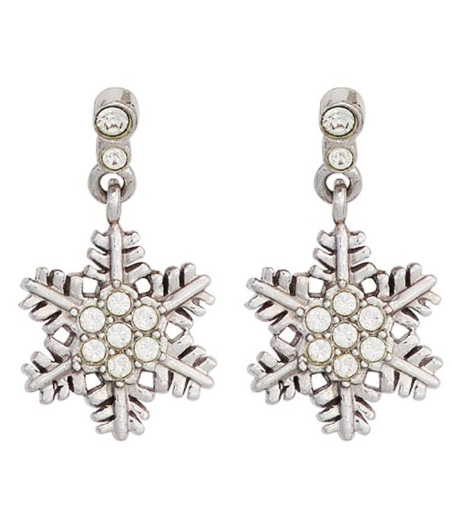 Aurora Patina Kids Earring Snowflake 925 Silver with Zirconia