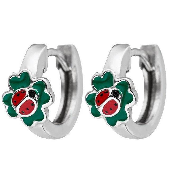 Kids Creoles Ladybird on four-leaf clovers 925 Sterling Silver