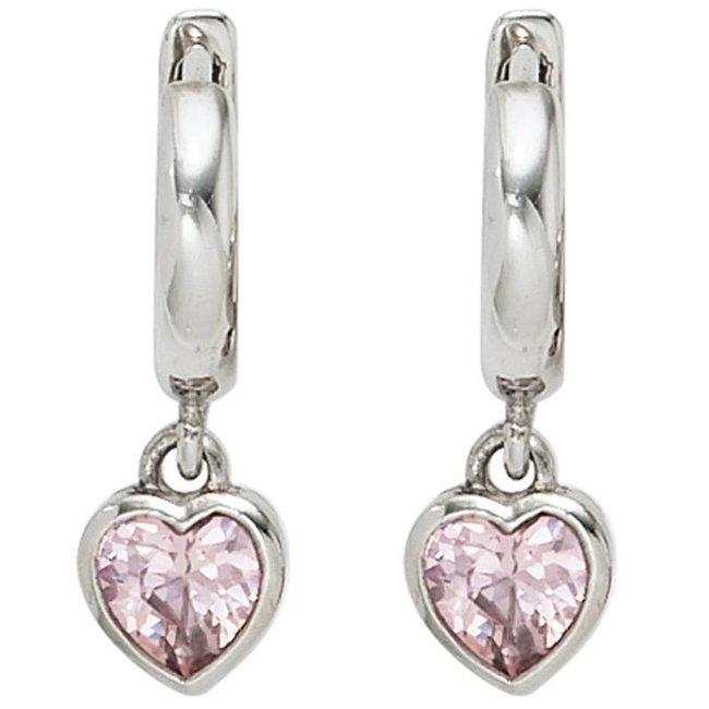 Aurora Patina Kids creole earrings pink zirconia in silver
