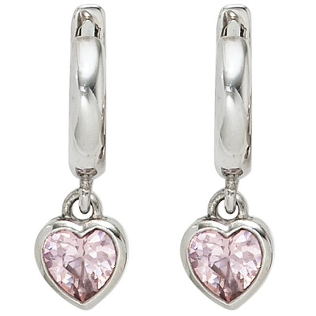 Kids creole earrings sterling silver with 2 pink zirconia hearts