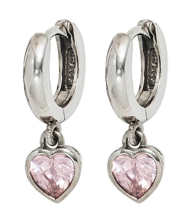 Aurora Patina Kids creole earrings sterling silver with 2 pink zirconia hearts