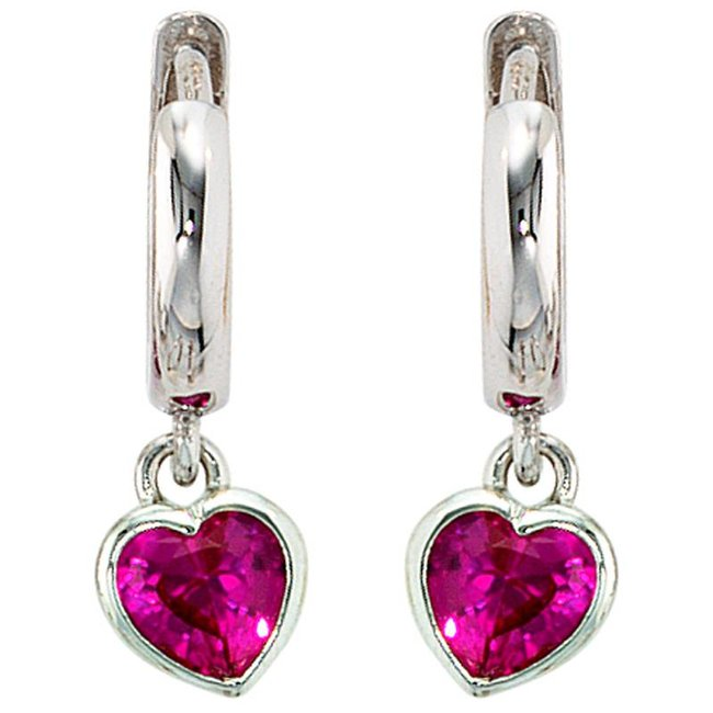 Kids creole earrings sterling silver with 2 pink red  zirconia hearts