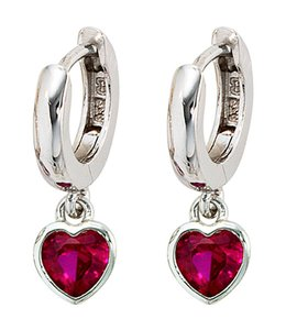 JOBO Kids creole earrings pink red zirconia in silver
