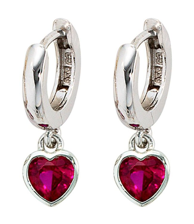 JOBO Kids creole earrings sterling silver with 2 pink red  zirconia hearts
