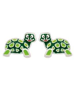 Aurora Patina Kinder oorknopjes schildpad groen