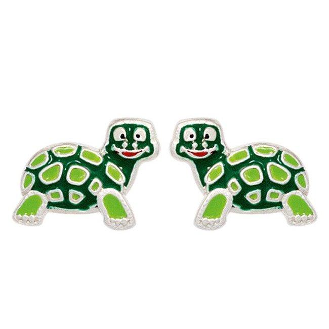 Kinder oorknopjes schildpad groen 925 Sterling