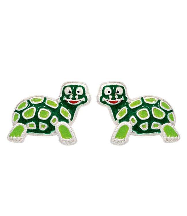 Aurora Patina Kids Ear Studs Turtle green 925 Sterling