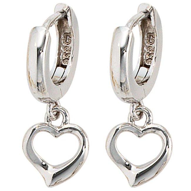 Kids creole earrings Hearts sterling silver