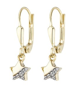 Aurora Patina Kids earrings Stars Gold with Zirconia