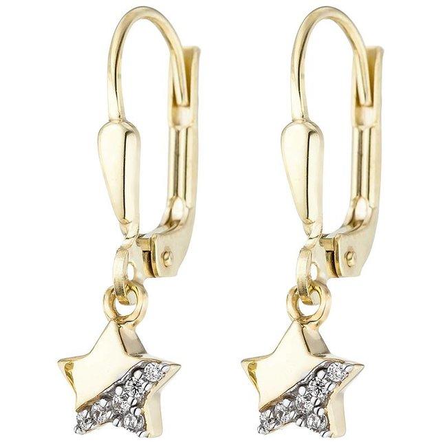 Kinder oorbellen Stars in 375 goud met zirkonia