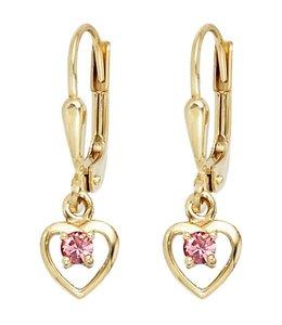 Aurora Patina Kinder oorbellen Hartje goud roze glassteen