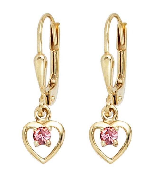 JOBO Kids earrings Heart 333 Gold 2 pink glass stones