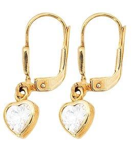 Aurora Patina Kids earrings Heart gold zirconia