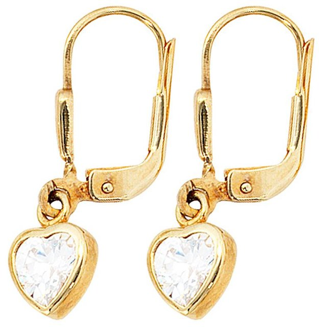 Aurora Patina Kids earrings Heart gold zirconia