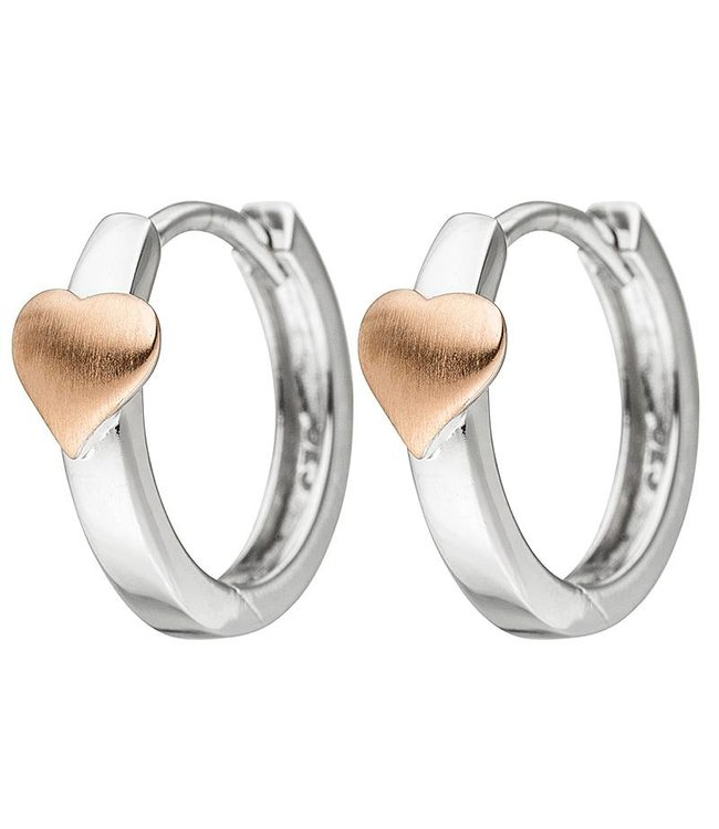 Aurora Patina Kids creoles Heart 925 silver bicolor gold plated