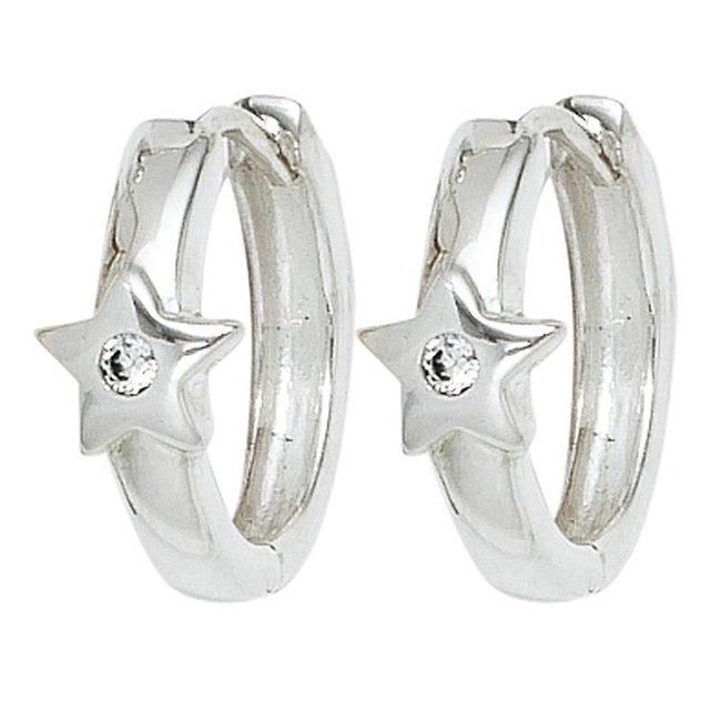 Kids creoles Sparkling Stars 925 silver with zirconia