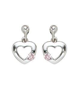 Aurora Patina Kinder oorbellen Hartje zilver roze zirkonia