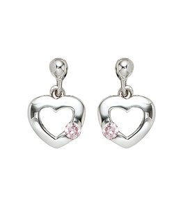 JOBO Kids earrings Heart silver pink zirconia