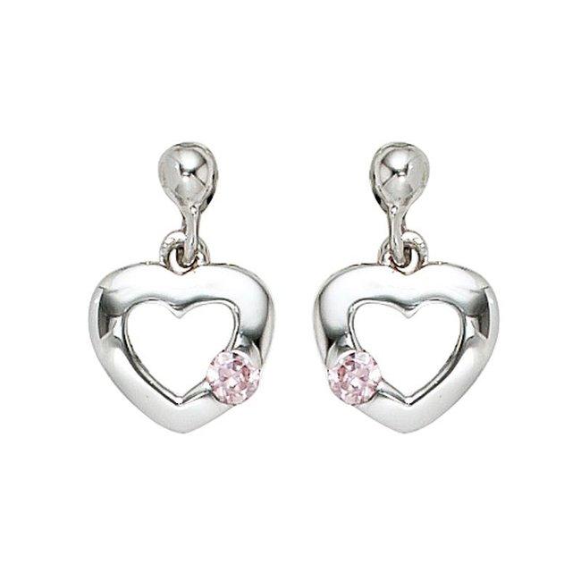 Kinder oorbellen Hartje 925 zilver met roze zirkonia