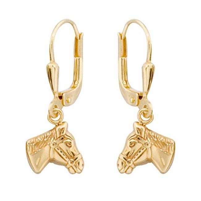 Gouden kinder oorbellen met paardenhoofden (333)
