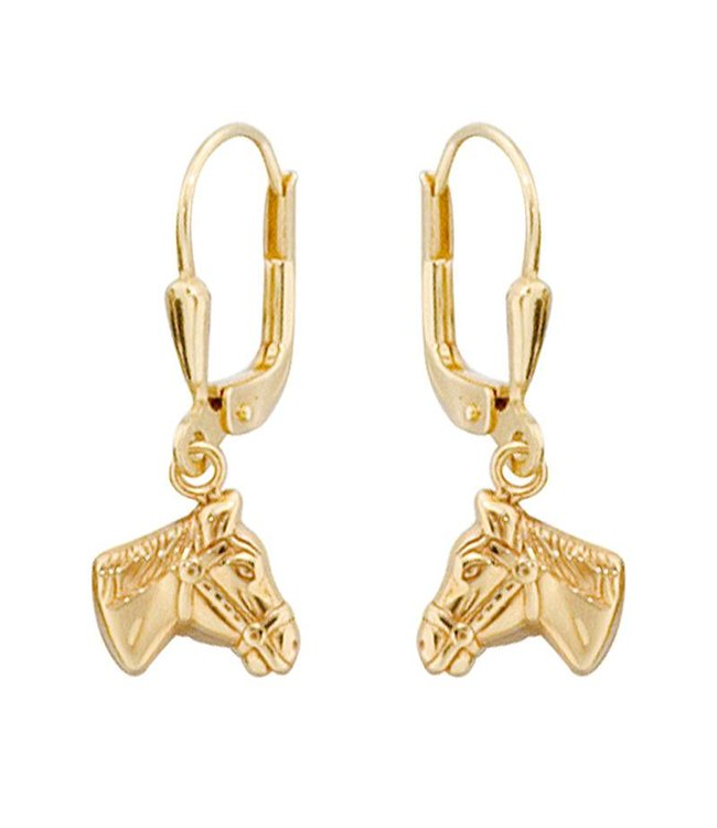 Aurora Patina Kids earrings horse heads in 333 gold