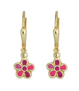 JOBO Kids earrings Pink Flower gold pink stone