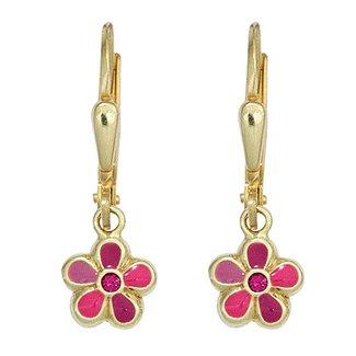 Aurora Patina Kids earrings Pink Flower gold pink stone