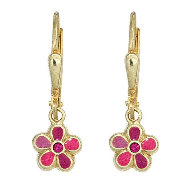 Kids earrings Pink Flower 333 Gold