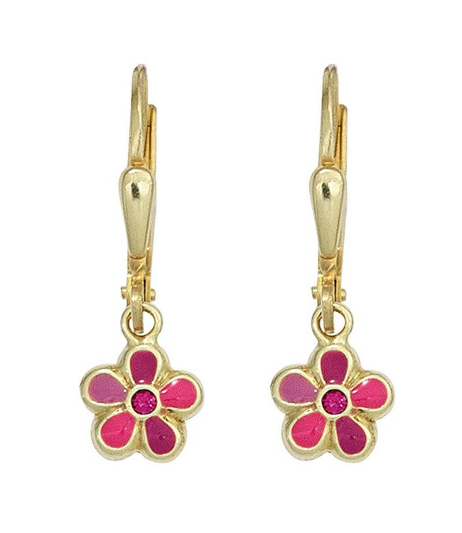 JOBO Kids earrings Pink Flower 333 Gold