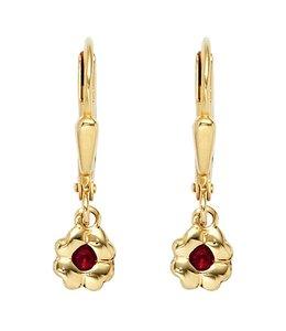Aurora Patina Kids earrings Gold Flower ruby