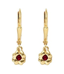 JOBO Kids earrings Gold Flower ruby