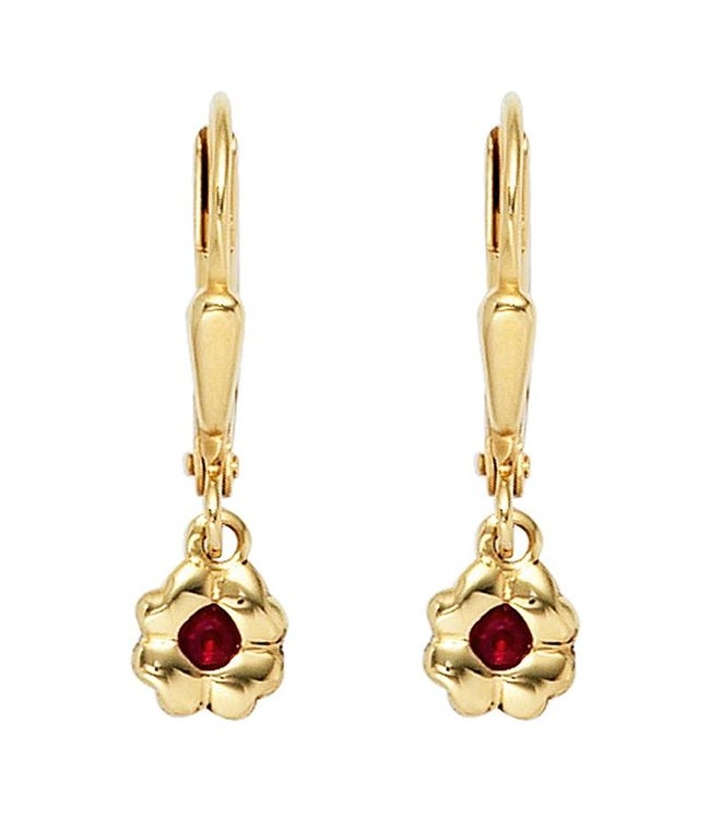 JOBO Kids earrings Gold Flower (333) with a red ruby