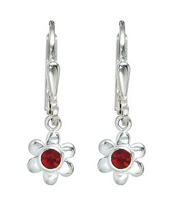 Aurora Patina Kids earrings Silver Flower red glass stone
