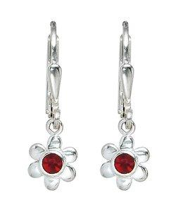 JOBO Kids earrings Silver Flower red glass stone