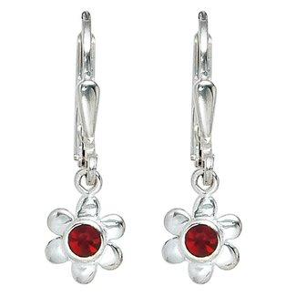 Aurora Patina Kids earrings Silver Flower red glass stone